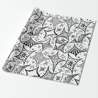 motif noir et blanc papier cadeau noël