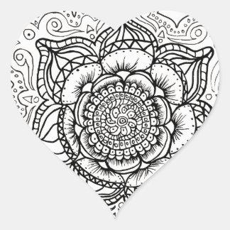 Mandala noir et blanc autocollants stickers mandala noir et blanc - Mandala de coeur ...