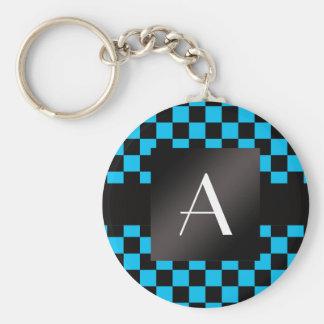Motif noir et bleu de monogramme de contrôleurs porte-clé rond