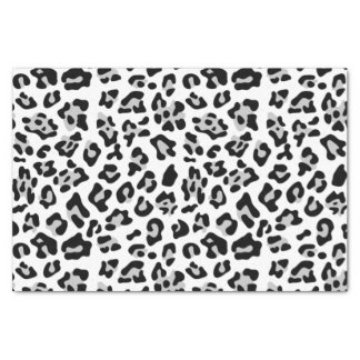 Motif noir gris de poster de animal de léopard papier mousseline