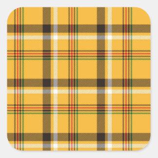 Motif noir jaune de texture de tissu de plaid sticker carré