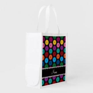 Motif noir nommé personnalisé de boutons sacs d'épicerie réutilisables