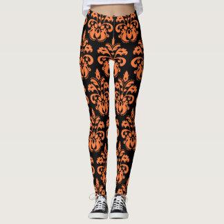 Motif noir orange de damassé leggings