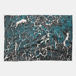 Motif noir turquoise bleu d'abrégé sur blanc linge de cuisine