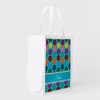 Motif nommé fait sur commande de boutons sacs d'épicerie réutilisables