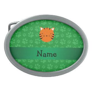 Motif nommé personnalisé de patte de vert de visag boucle de ceinture ovale