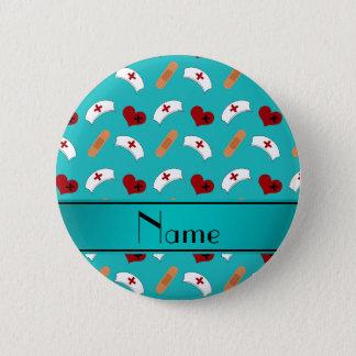 Motif nommé personnalisé d'infirmière de turquoise badge