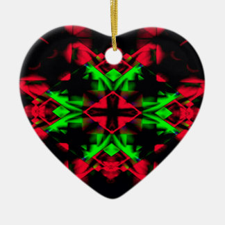 Motif nouveau de Noël saisonnier vert rouge frais Ornement Cœur En Céramique