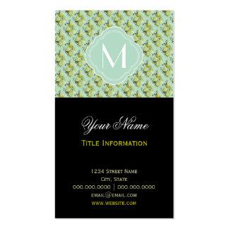 Motif olive et vert clair de damassé avec le carte de visite standard