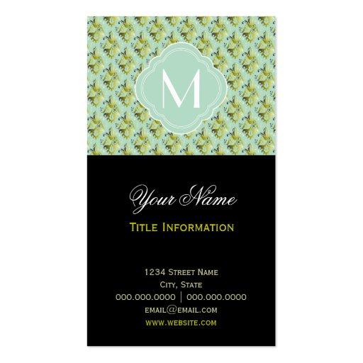 Motif olive et vert clair de damassé avec le monog carte de visite
