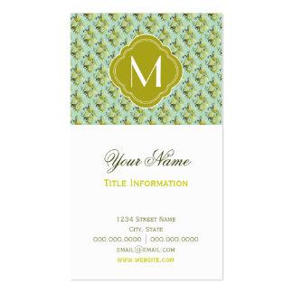 Motif olive et vert clair de damassé avec le monog modèle de carte de visite
