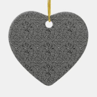 Motif optique complexe moderne ornement cœur en céramique