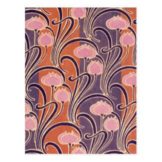Motif orange d'art déco carte postale
