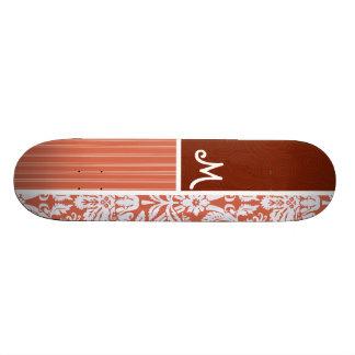 Motif orange de damassé planches à roulettes customisées