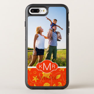 Motif orange de plage du monogramme | coque otterbox symmetry pour iPhone 7 plus