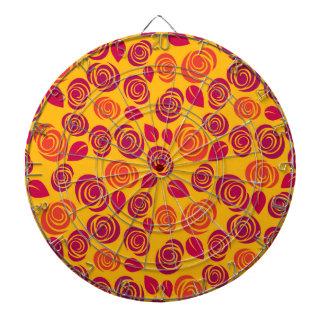 Motif orange de roses jeux de fléchettes
