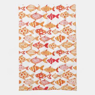 Motif orange lumineux de poissons d'aquarelle linge de cuisine