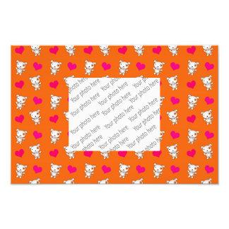 Motif orange mignon de coeurs de chien photographie d'art