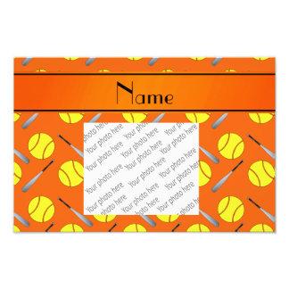 Motif orange nommé personnalisé du base-ball photographies