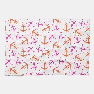 Motif orange rose nautique serviettes éponge