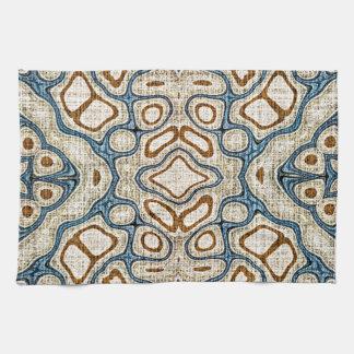 Motif oriental bleu turquoise ocre de batik de serviettes pour les mains
