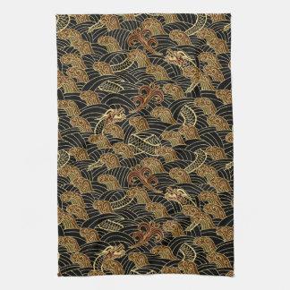 Motif oriental de dragon de mer serviettes éponge
