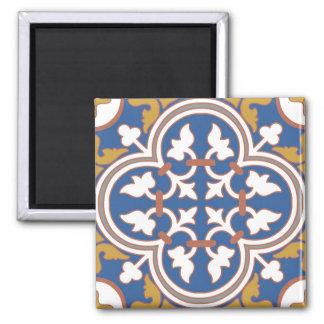 Motif ornemental coloré de tuile magnet carré