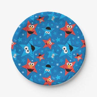 Motif patriotique d'Elmo et de monstre de biscuit Assiettes En Papier