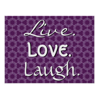 Motif pourpre 012 de rire vivant d'amour rétro posters