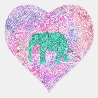 Motif pourpre de henné d'éléphant tribal turquoise autocollants en cœur