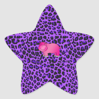 Motif pourpre de léopard d'hippopotame rose mignon sticker étoile
