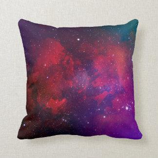 Motif pourpre et rouge de l'espace d'aquarelle oreiller