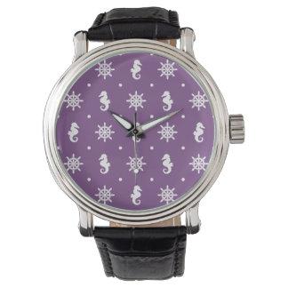 Motif pourpre nautique montres bracelet