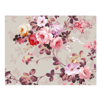 Motif pourpre rouge-rose élégant vintage de roses cartes postales