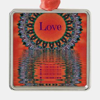 Motif pourpre rouge se reflétant de mandala ornement carré argenté