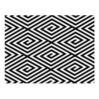 Motif principal abstrait noir et blanc moderne carte postale