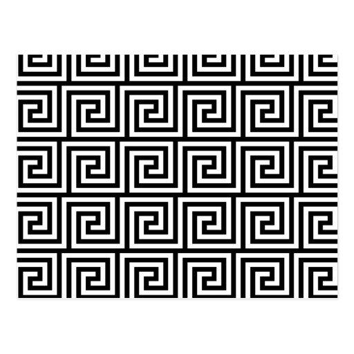 Motif principal grec graphique noir et blanc carte postale for Dessin graphique noir et blanc