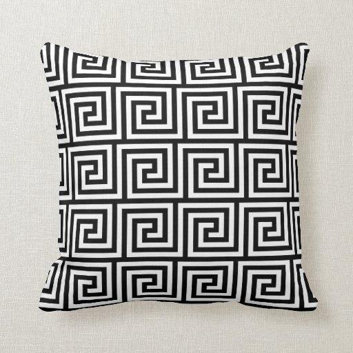 motif principal grec graphique noir et blanc oreiller zazzle. Black Bedroom Furniture Sets. Home Design Ideas