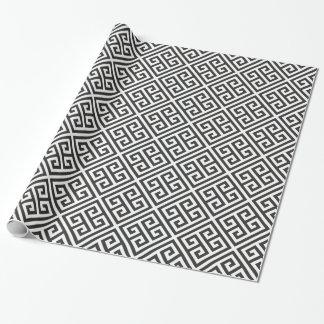 Motif principal grec noir et blanc de labyrinthe papier cadeau
