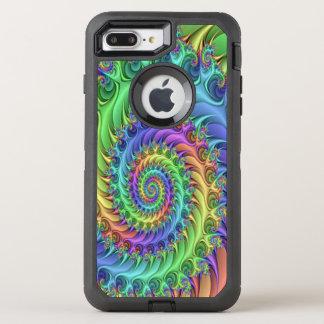 Motif psychédélique frais coloré de spirales de coque otterbox defender pour iPhone 7 plus