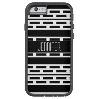 Motif rayé abstrait noir et blanc coque tough xtreme iPhone 6