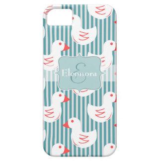 Motif rayé bleu avec les canards blancs coque iPhone 5 Case-Mate