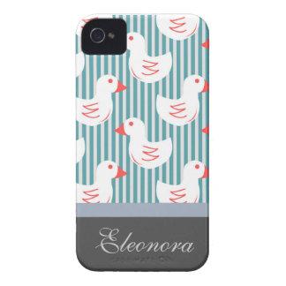Motif rayé bleu avec les canards blancs étuis iPhone 4