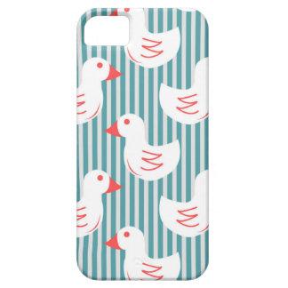 Motif rayé bleu avec les canards blancs étuis iPhone 5