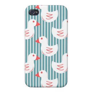 Motif rayé bleu avec les canards blancs coques iPhone 4