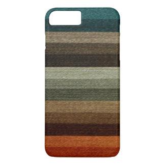 Motif rayé d'automne chaud vintage, tons de la coque iPhone 7 plus