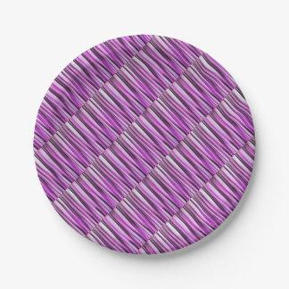Motif rayé de Lavendar, d'iris et de raisin Assiettes En Papier