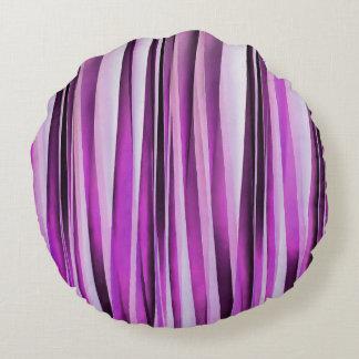 Motif rayé de Lavendar, d'iris et de raisin Coussins Ronds