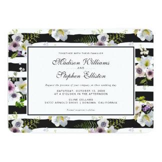 Motif rayé floral peint - mariage carton d'invitation  12,7 cm x 17,78 cm