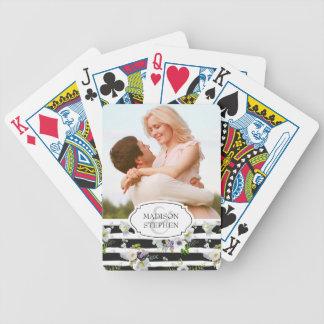 Motif rayé floral peint - photo de mariage jeu de poker